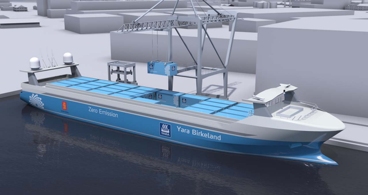 The autonomous container ship MV Yara Birkeland, to be launched 2022