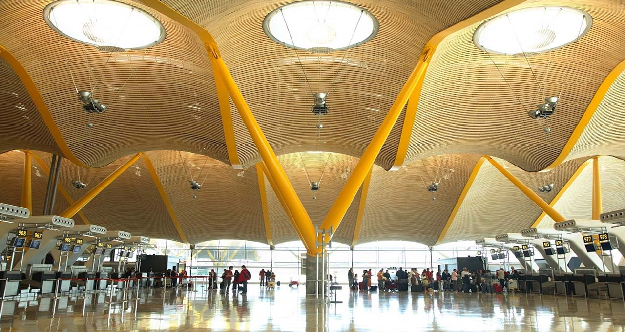 The bamboo ceiling in Madrid International Airport.
