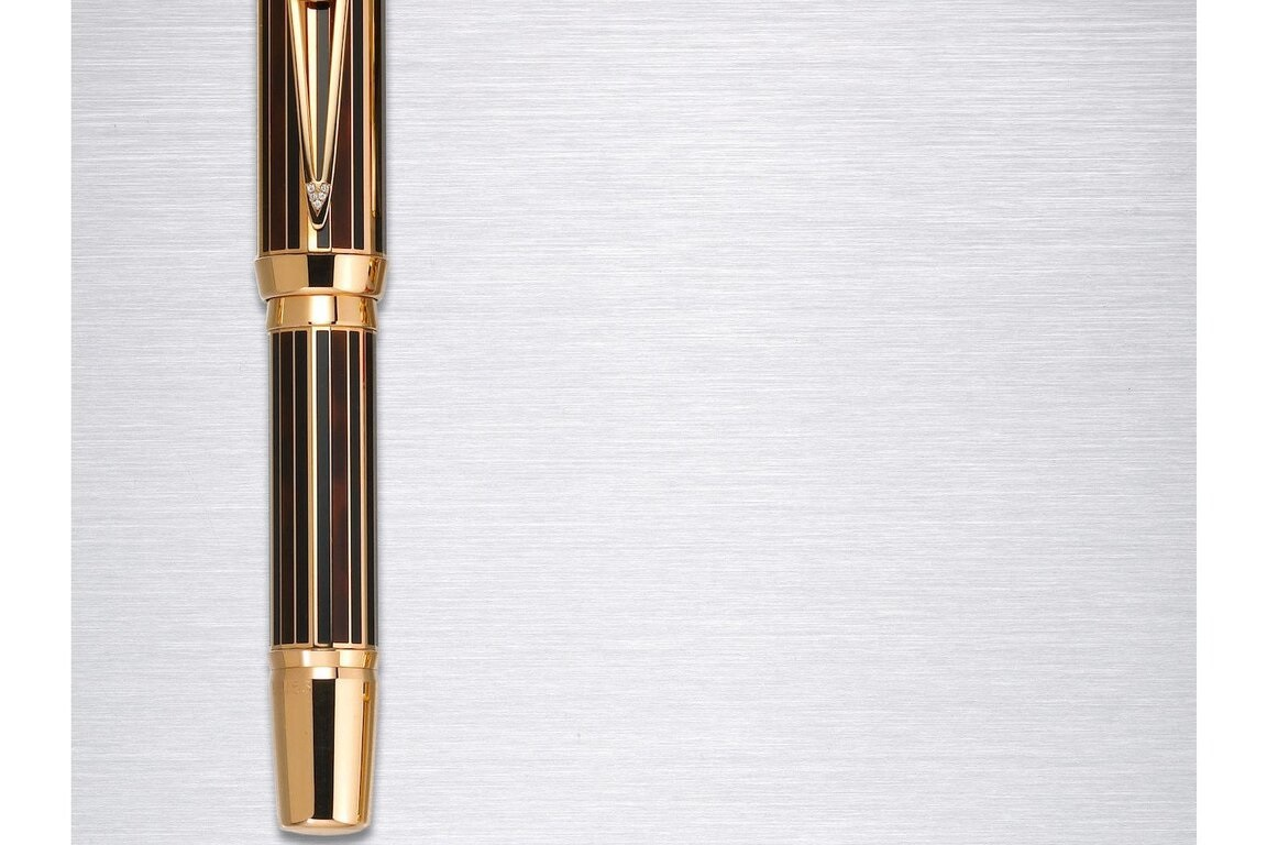 Made by Montblanc, a pen dedicated to Sir Winston Churchill. It has an 18-carat pink gold barrel, its cap top ringed with 53 diamonds to commemorate 1953, the year Churchill was knighted.