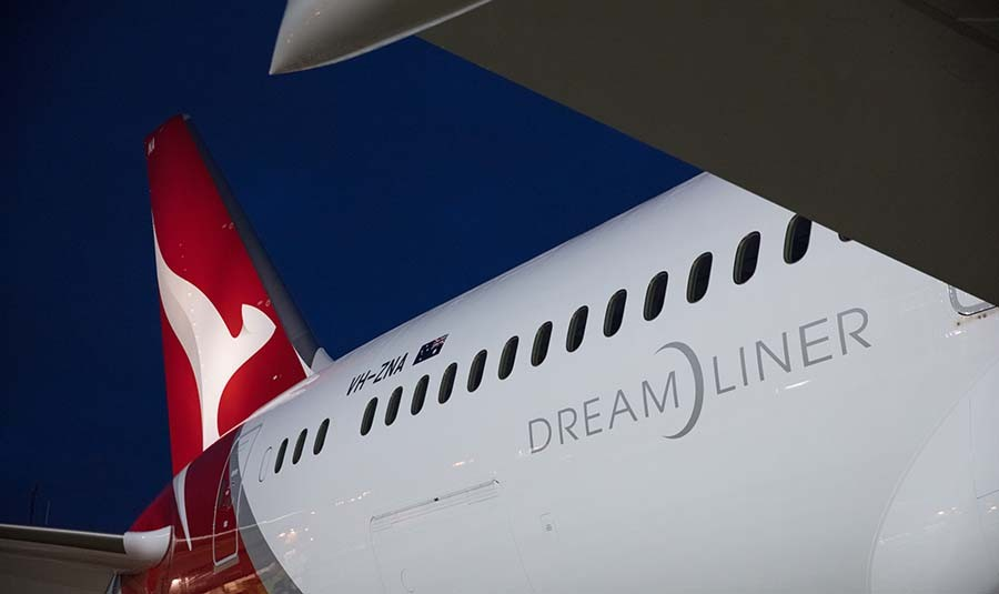 The outside of the Qantas Dreamliner aeroplane, the most advanced long-haul aircraft of its type.