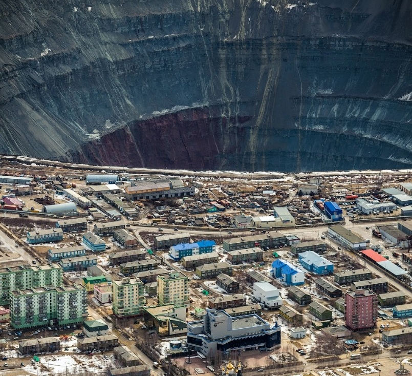 Mirny town open-pit diamond mine in Russia