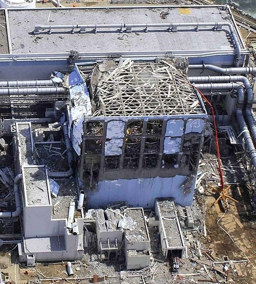 Aerial shot of a building following the nuclear incident in Fukushima