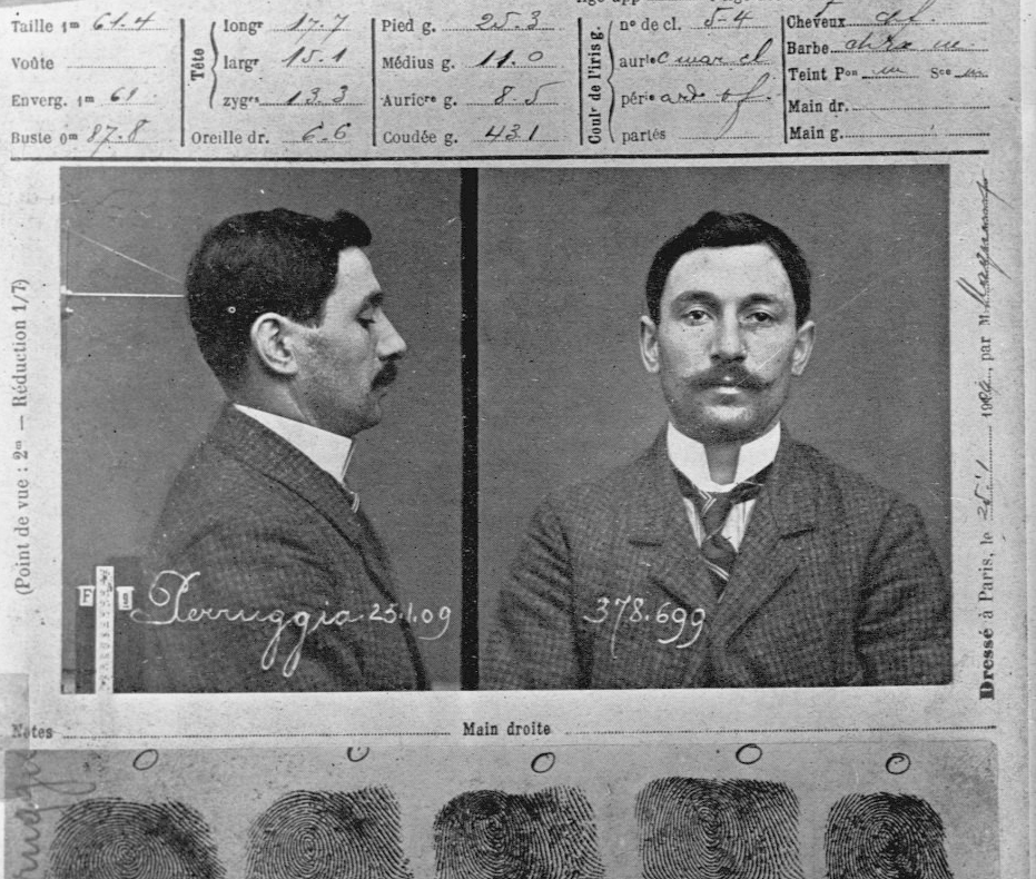 Mug shot of Vincenzo Perugia, the Italian man who stole the Mona Lisa out of the Louvre Museum in Paris.  Perugia claimed he completed the act out of patriotism, insisting the painting belonged in Leonardo da Vinci's home country, Italy, and not France.